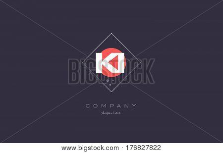 Ki K I  Vintage Retro Pink Purple Alphabet Letter Logo Icon Template