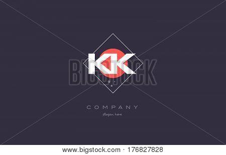 Kk K K  Vintage Retro Pink Purple Alphabet Letter Logo Icon Template