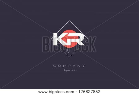 Kr K R  Vintage Retro Pink Purple Alphabet Letter Logo Icon Template