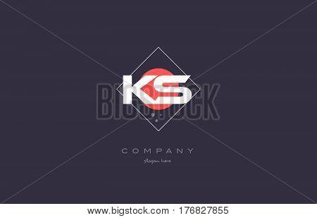 Ks K S  Vintage Retro Pink Purple Alphabet Letter Logo Icon Template