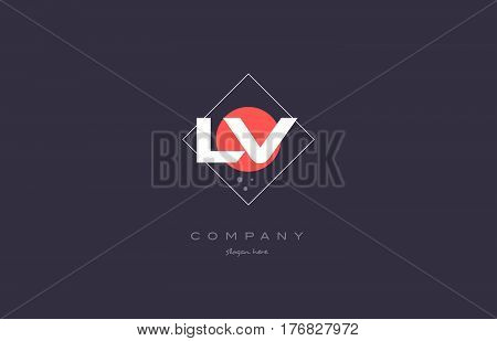 Lv L V  Vintage Retro Pink Purple Alphabet Letter Logo Icon Template