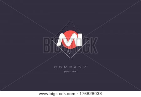 Mi M I  Vintage Retro Pink Purple Alphabet Letter Logo Icon Template