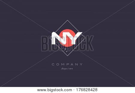 Ny N Y  Vintage Retro Pink Purple Alphabet Letter Logo Icon Template
