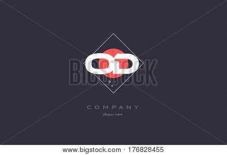 Od O D  Vintage Retro Pink Purple Alphabet Letter Logo Icon Template