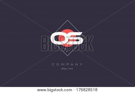 Os O S  Vintage Retro Pink Purple Alphabet Letter Logo Icon Template