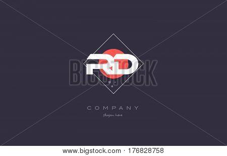 Rd R D  Vintage Retro Pink Purple Alphabet Letter Logo Icon Template