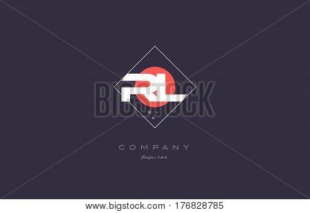Rl R L  Vintage Retro Pink Purple Alphabet Letter Logo Icon Template