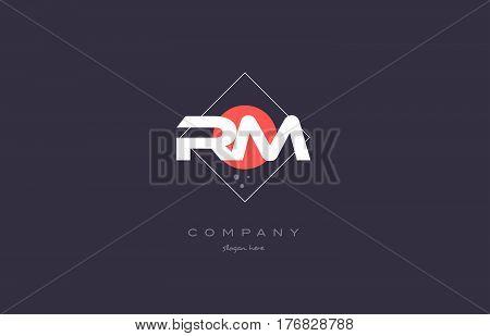 Rm R M  Vintage Retro Pink Purple Alphabet Letter Logo Icon Template