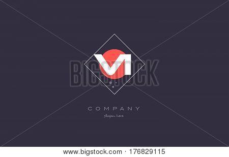 Vi V I  Vintage Retro Pink Purple Alphabet Letter Logo Icon Template