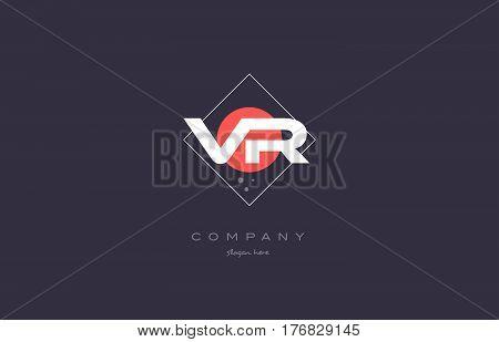 Vr V R  Vintage Retro Pink Purple Alphabet Letter Logo Icon Template