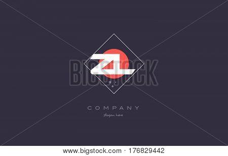 Zl Z L  Vintage Retro Pink Purple Alphabet Letter Logo Icon Template