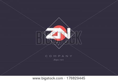 Zn Z N  Vintage Retro Pink Purple Alphabet Letter Logo Icon Template