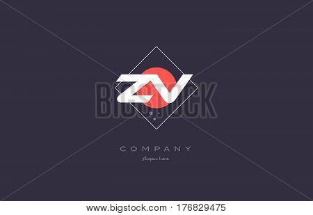 Zv Z V  Vintage Retro Pink Purple Alphabet Letter Logo Icon Template