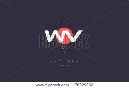 Wv W V  Vintage Retro Pink Purple Alphabet Letter Logo Icon Template