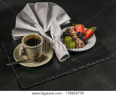 Black Coffee With Cream Cup, Healthy, Energetic Breakfast, Bar Whole Grain, Grapes, Strawberries And