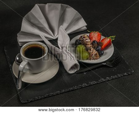 Black Coffee In White Cup, Healthy, Energetic Breakfast, Bar Whole Grain, Grapes, Strawberries And B