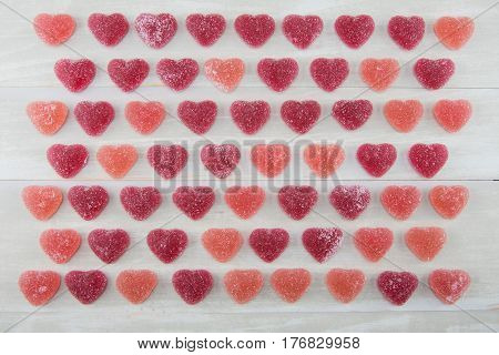 Wide View Grid of Dark Red and Pink Gummy Hearts