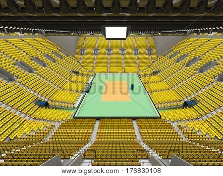 Beautiful Sports Arena For Volleyball With Yellow Seats And Vip Boxes