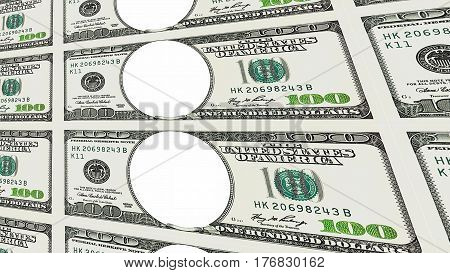 Sheet of one hundred 100 dollar bills with no face moving away to distance 3d perspective