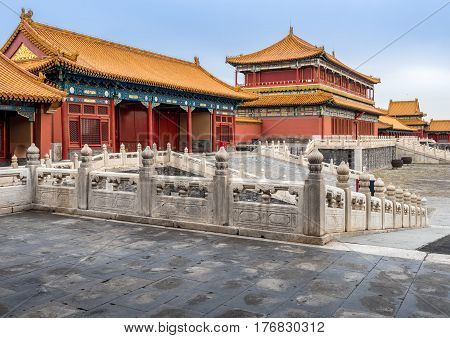 Beijing, China - Oct 30, 2016: Side view of the Tower of State Benevolence (tallest building) in the Forbidden City (Gu Gong, Palace Museum).