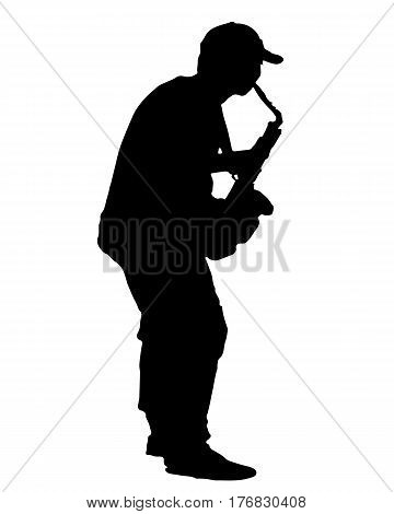 black silhouette vector of a musician playing the saxophone isolated on white background