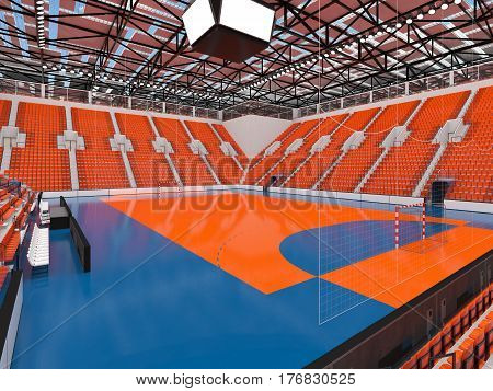 Beautiful Sports Arena For Handball With Orange Seats And Vip Boxes