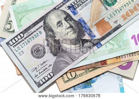 Tenge. Money of Kazakhstan. Dollars. Euro. Photo taken by professional camera and lens