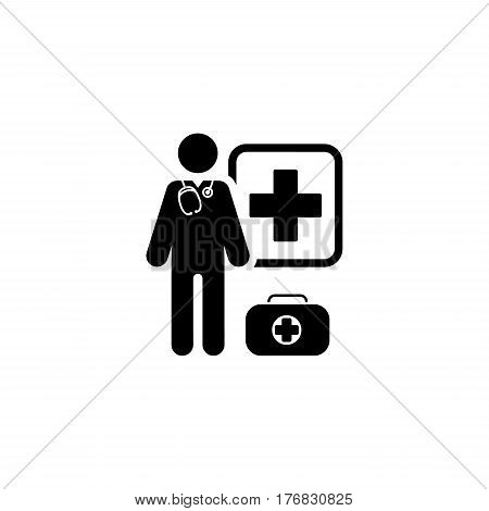 Doctor on Duty Icon. Flat Design Isolated Illustration.