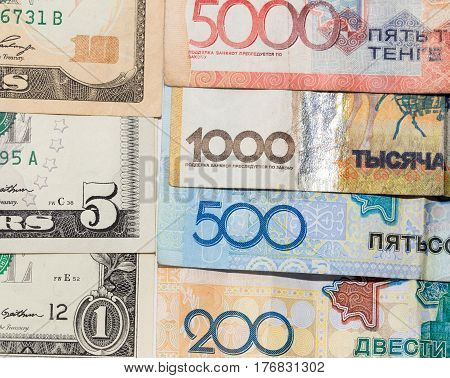 Money Kazakhstan tenge and US dollars . Photo taken by professional camera and lens
