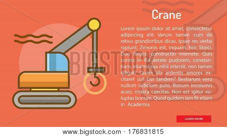 Crane Conceptual Banner | Great banner flat design illustration concepts for construction, equipment, industry and much more.