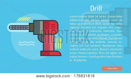 Drill Conceptual Banner | Great banner flat design illustration concepts for construction, equipment, industry and much more.