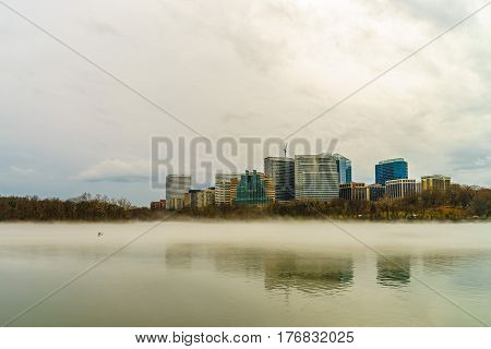 Rosslyn Arlington Virginia USA city skyline on the Potomac River USA