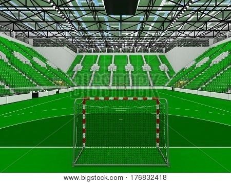 Beautiful Sports Arena For Handball With Green Seats And Vip Boxes