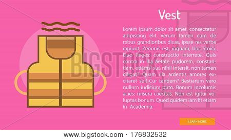 Vest Conceptual Banner | Great banner flat design illustration concepts for construction, equipment, industry and much more.