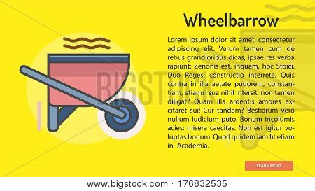 Wheelbarrow Conceptual Banner | Great banner flat design illustration concepts for construction, equipment, industry and much more.