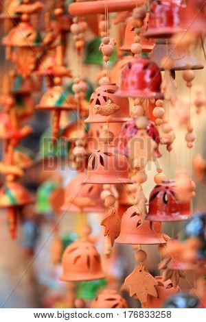 Indian clay made colorful handicrafts