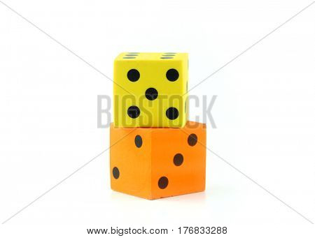 One yellow and one orange dies