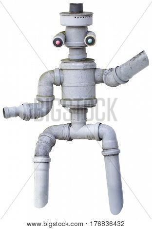 Plastic Pipe Robot Puppet Cutout