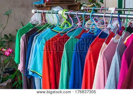 Colorful Shirts Hanging on Clothes Line for Drying