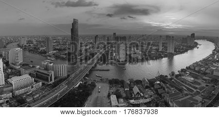 Black and White Panorama Bangkok river curved central city busienss downtown Thailand