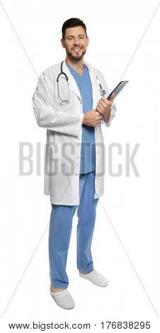 Handsome doctor standing on white background