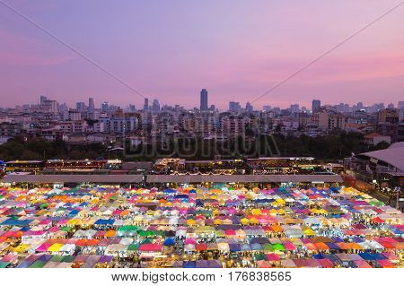 Aerial view city weekend night market cityscape downtown background