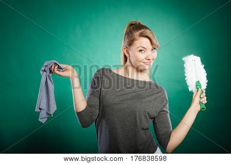 Girl With Cleaning Cloth In Hand.