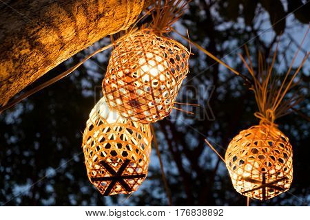 Round bamboo basket to light and backgrounds