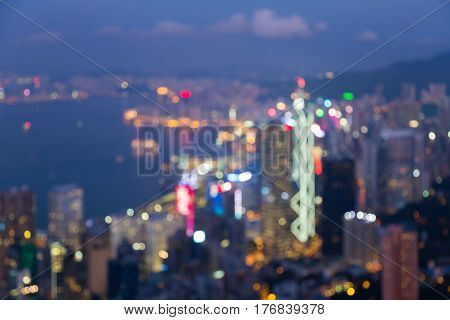 Twilight blurred bokeh lights Hong Kong city downtown abstract background