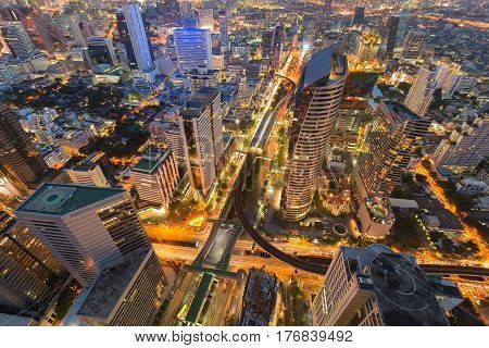Night aerial view city central business downtown cross road cityscape background