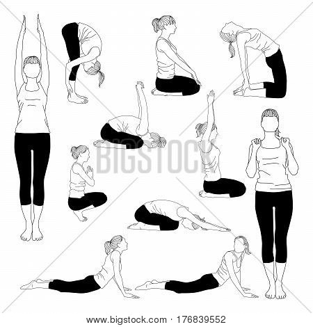 Collection of vector silhouettes of young slim woman doing yoga stretching for spine. Positions for spine to make it flexible and strong.