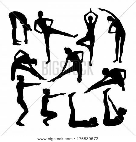 Set of vector silhouettes of woman doing yoga stretching relaxing body and balancing. Slim girl in different poses isolated on white background.