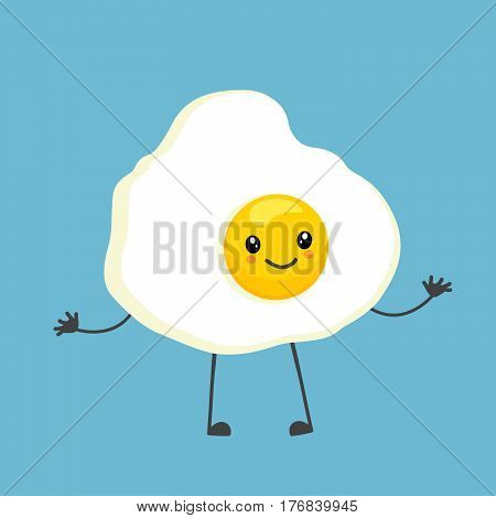 Colorful cartoon character with scrambled egg. Cute kawaii food character on blue background.