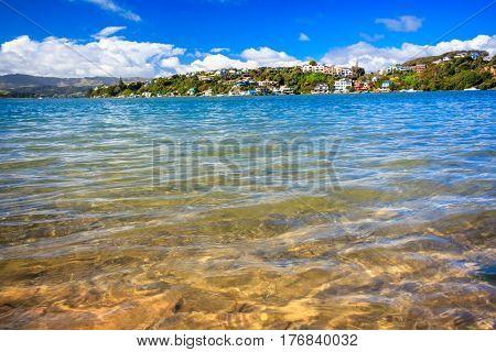 Beautiful sea and hills landscape. Location: New Zealand Aotearoa, capital city Wellington, North Island